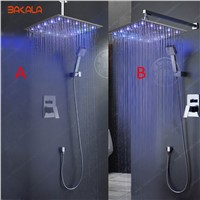BAKALA  Bathroom Ceiling Rain Shower LED 7 Colors Automatic Changing With Wall Mounted Or Ceiling Mounted Shower BR-LED1616