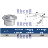 "Cheap 5/8"" inch 15mm 25kg load capacity CY15H pressed metal Ball transfer unit CY-15H bull eye drop in steel ball bearing caster"