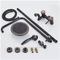 Wall Mounted Bathroom Shower Faucet Set Cold Hot Mixer Tap 8 Inch Shower Head 1.5M Hose Oil Rubbed Bronze ORB Black TGF009