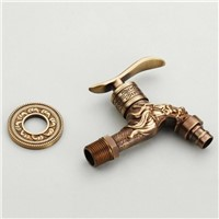 Bibcock Faucet For Outdoor Garden Brass Antique Bronze Washing Machine Faucet Wall Bathroom Mop Tap Toilet Cold Bibcock HJ-7665F