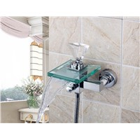 8008S/2 Crystal Diamond Handle Waterfall Glass Spout Wall Mounted Bathroom Bath Handheld Shower Tap Mixer Faucet