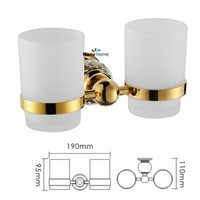 Golden Crystal+ Brass+Glass  Bathroom Accessories Gold Double Cup Tumbler Holders,Toothbrush Cup Holders