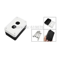 Black White Plastic Two Push Button Switch Control Station Box Case F
