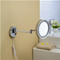 OWOFAN Bath Mirrors 8 Inch Brass Magnifying Wall Round LED Makeup Mirror With Lighting Mirror Cosmetic Toiletries Helper 1238