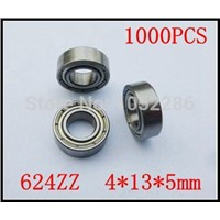 1000pcs  624ZZ miniature radial ball bearing 624 624Z  shielded deep groove ball bearings 4*13*5mm