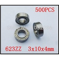 500pcs/lot  623ZZ  miniature radial steel ball bearing 623 623Z shielded deep groove ball bearings 3x10x4 mm