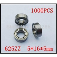 1000pcs  625ZZ  miniature radial ball bearing 625 625Z  shielded deep groove ball bearings 5*16*5mm
