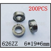 200pcs/lot  626ZZ   miniature radial ball bearing 626 626Z shielded deep groove ball bearings 6*19*6mm