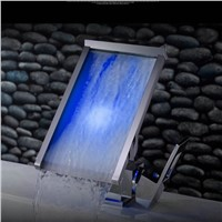 KEMAIDI Waterfall Bathroom Basin Led Faucet Water Power Basin Mixer Chrome Single Handle Faucet 3 Colors Change LED Tap JN6110A