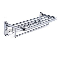 Wall Mounted Folding Bath Towel Rack Chrome Polished Bathroom Towel Shelf Towel Rod Towel Hooks