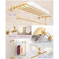 Crystal Decoration Luxury Gold Bathroom Hardware Hanger Set Towel Rack Hooks Paper Holder Shelf Brush Toothbrush Cup Holders