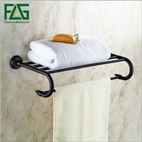 FLG Wall Mounted Bathroom Towel Rack Holder Black Towel Racks Bathroom Dupla Towel Hanger