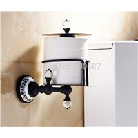 Oil Rubbed Bronze Bath Wall Mount Toilet Paper Holder With diamond