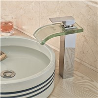 Contemporary Color Changing Waterfall Glass Bathroom Basin Sink Faucet Deck Mounted LED Light Mixer Taps One Hole