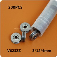 200pcs  V623ZZ  V groove roller wheel ball bearings 3*12*4 mm embroidery machine pulley bearing V623 623V 3x12x4