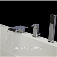New Arrival Modern 3Pcs Bathroom Tub Faucet Set W/ ABS Handheld Shower Chrome Polished Mixer Tap Bathtun Faucet Deck Mounted