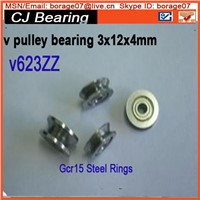 V623ZZ V groove windows roller wheel ball bearings 3*12*4 mm machine pulley bearing V623 623V