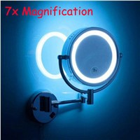 LED brass cosmetic mirror wall mounted  mirror with led bathroom beauty mirror double faced retractable makeup mirror folding