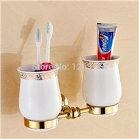 Newly Wall Mount Brass Bathroom Accessories Toothbrush Holder Golden Polished Flower Tumbler Holder Dual Ceramic Cups OG-25855C