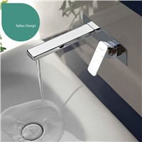 Solid brass Chrome Bathroom Sink Vessel Faucet Basin Mixer Tap,Bathroom Square Brass water tap wall mount basin faucet