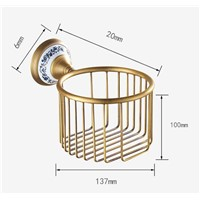 AP1 Series Antique Brass Brush Porcelain Base Wall Mounted Bathroom Accessories Paper Holders Bathroom Basket
