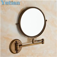 "Antique 8"" Double Side Bathroom Folding Brass Shave Makeup Mirror Wall Mounted Extend with Arm Round 1x3x Magnifying YT-9102-F"