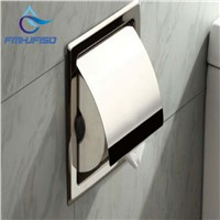 Stainless Steel Polished Chrome Toilet Paper Holder Wall Mounted Paper Box