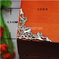 42*42*57MM100pcs metal silver tone notebook Albums Menus Folders decorative Corner book wooden jewelry box wrap corner  brackets