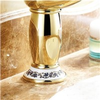"8"" Golden Plated Faucets Bathroom Sink Basin Brass Faucet  Porcelain Mixer Tap 9031GP"