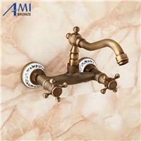 Wall Mounted Faucets Kitchen Swivel Faucet Bathroom Basin Brass Sink Crane Mixer Tap porcelain 9057AP