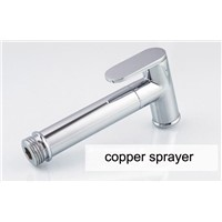 Copper Wall Mounted Three Way Bibcock With Toilet Sprayer And Flexible Hose For Bathroom