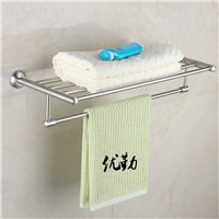 Wall Mount Stainless Steel Nickel Brushed Bathroom Bath Towel Shelf Double Towel Rack Towel Bar
