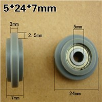 M5x24x7mm 625zz pack plastic Bearings Screw Pulley U groove durable nylon wheel POM 626ZZ without shaft