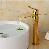 High Golden bathroom waterfall bathroom faucet basin sink tap waterfall faucet mixer tap Vintage water faucet golden tap