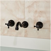 Wall Mount Brass Double Handles Basin Faucet Bathtub Basin Mixer Taps Oil-rubbed Bronze