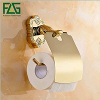FLG Gold Finish Luxury Wall Mounted Brass Metal Toilet Roll Paper Holders, Golden Toilet Roll Holder