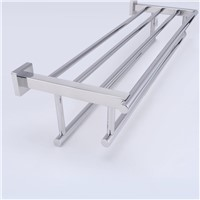 Mirror Polishing 304 stainless steel Shelf with Towel Rack Stainless Steel Towel Rack with Two Towel Bars