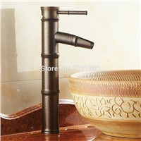 Hot selling Roman Bronze Brown  Bamboo  single hole bathroom basin  Deck Mounted Faucet  1029