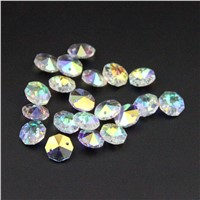 100pcs/lot AB 14mm Crystal Octagon Bead For Chandelier Prism Parts 2 holes Crystal Glass Chandelier Parts Crystal Hanging Drop
