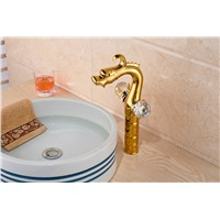 Golden Brass Modern Dragon Faucet Double Handles Vanity Sink Mixer Brass Tap