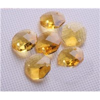 New ! 14mm 800pcs/lot Topaz Crystal Chandelier Octagon Loose Beads In 2 Holes Glass Lighting Prism Pendant Suncatcher Beads