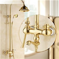 Shower Faucets Gold Bathroom Taps Rainfall 8 inch with Hand Shower Attachment On The Crane Home Decoration Plumbing Mixer HA01