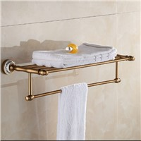 Space aluminum bath towel rack bathroom towel holder Antique Double towel shelf
