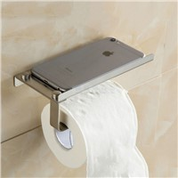 Brushed Nickel Stainless Steel Wall-Mount Bathroom Tissue Holder/ Toilet Paper Holder, For Mobile phone holder  08-028-2