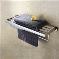 "24"" Polished Stainless Steel Bathroom Lavatory Double Bathroom Shelf Towel Rack Wall Mount"