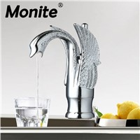 Durable Solid Brass Bathroom Faucet Basin Faucet Single Hole torneira 9810-2 Modern Swan Design Mixer Taps