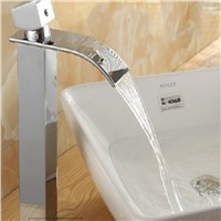 Luxury Countertop Bathroom Basin Faucet Waterfall Spout Vanity Sink Mixer Tap Kitchen Faucet