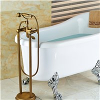 Wholesale And Retail Floor Mounted Antique Brass Bathroom Tub Faucet Floor Mounted Tub Filler + Hand Shower Mixer Tap