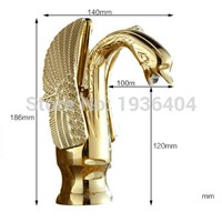 Luxury Copper hot and cold water taps swan faucet Golden Finished basin faucet Mixer Taps G1081