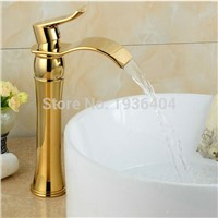 Waterfall Gold Faucet Single Handle Antique Kitchen Basin Mixer Taps Single Hole Sink Faucet G1061